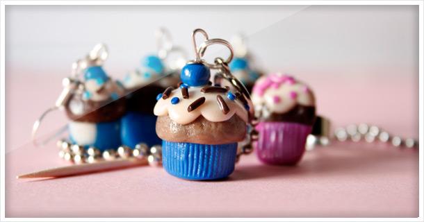 Basteln: Fimo Cupcake Schmuck
