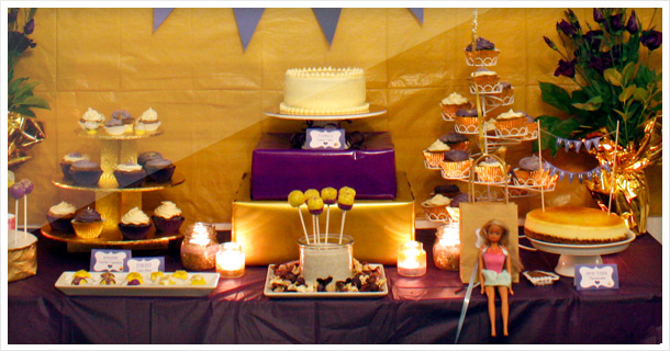 30th Birthday: Golden-Violet – Dessert & Party Table Theme
