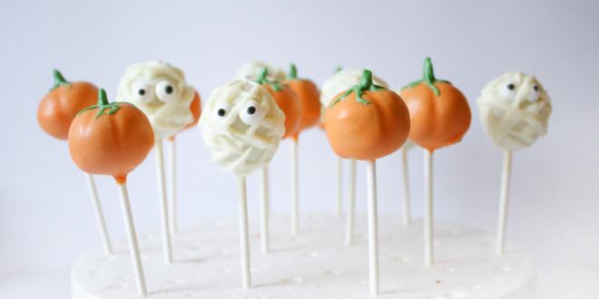 Halloween Pumpkin Cake Pops & Googly, Spooky Mummies Cake Pops