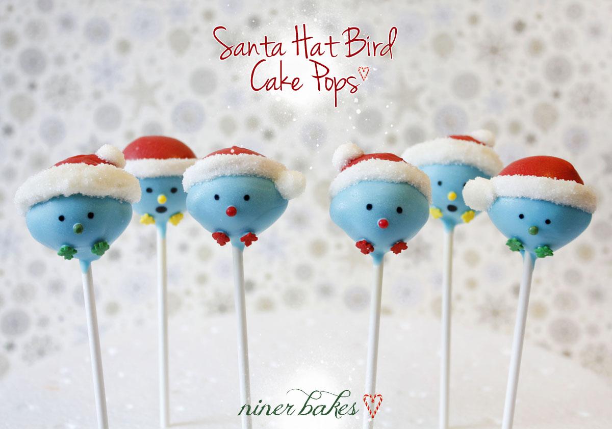Christmas Cake Pops.Santa Hat Birdie Cake Pops Tutorial Niner Bakes