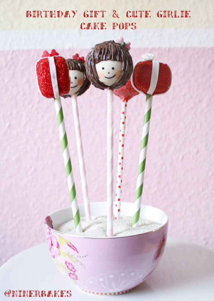 Birthday Gift Cookie Dough Cake Pops with fondant roses and fondant ribbon - birthday girl cake pops with brown hair and cute fringe - pip studio