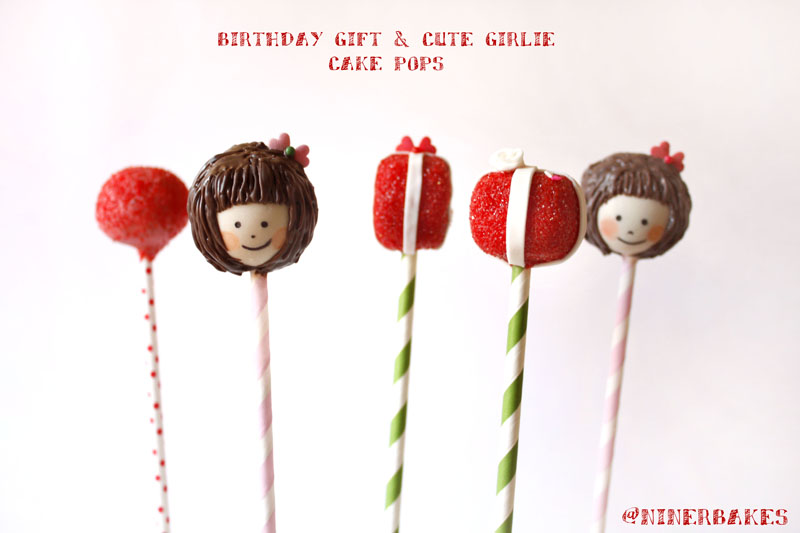 Birthday Gift Cookie Dough Cake Pops with fondant roses and fondant ribbon - birthday girl cake pops with brown hair and cute fringe - pip studio2 - Safe-to-Eat Eggless Cookie Dough Recipe