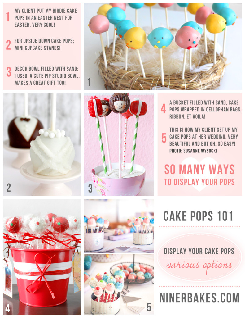 How to display your cake pops - Guide to display cake pops - Cake Pops 101 - Styrofoam Cake Pop Tower - Mini Cupcake Stands for cake pops - deco sand - various ways to display your cake pops