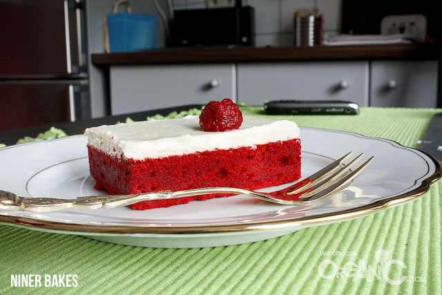red velvet cake - sheet cake for Valentine's Day by niner bakes