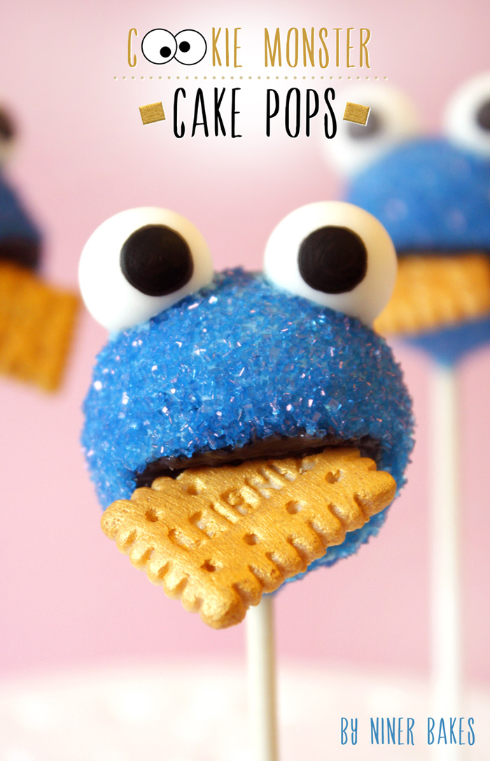 cookie monster cake pops by niner bakes