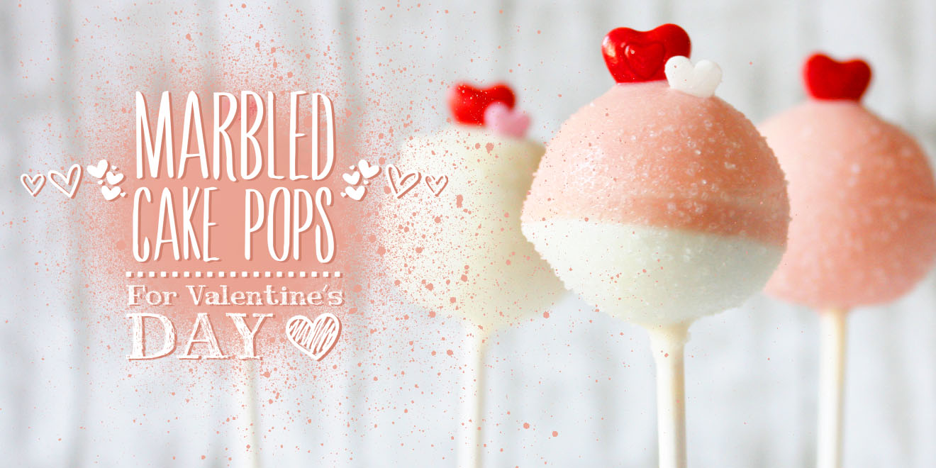 Last minute Valentine's Day gift: Easy Heart & Marbled Cake Pops