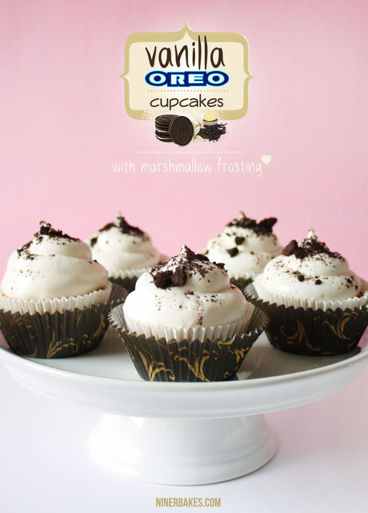 Yummiest OREO Surprise Vanilla Cupcakes with Marshmallow Frosting