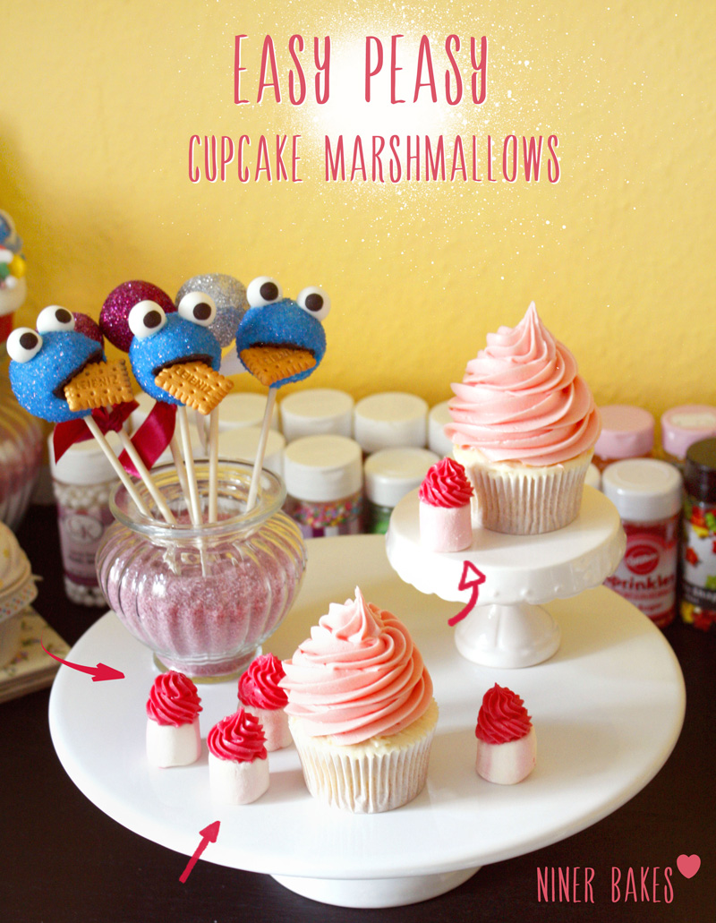 Easy peasy little tiny cupcake marshmallows with yummy buttercream creamcheese frosting recipe