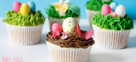 """Happy Easter"" Treats: Easter Nest Cupcakes with Easter Eggs"