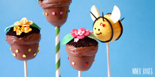 {Tutorial} Easter Cake Pops ideas for your Easter dessert table: Bumble Bee & Flowerpot Cake Pops