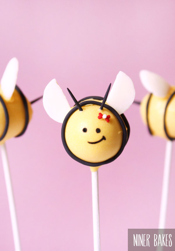 how to make bumble bee cake pops - by niner bakes - spring easter cake pops
