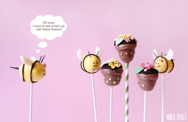 how to make bumble bee cake pops - by niner bakes - spring easter cake pops en