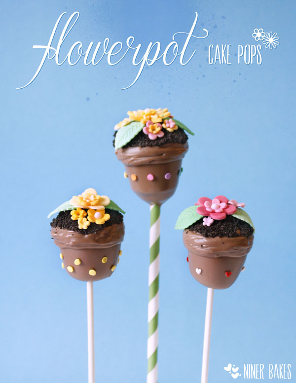 how to make spring flowerpot cake pops - easter cake pops - niner bakes