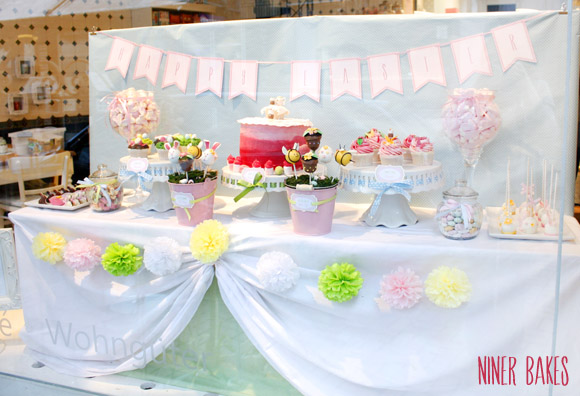 oster frühlings candy bar - sweet table - -hasen cake pops - niner bakes