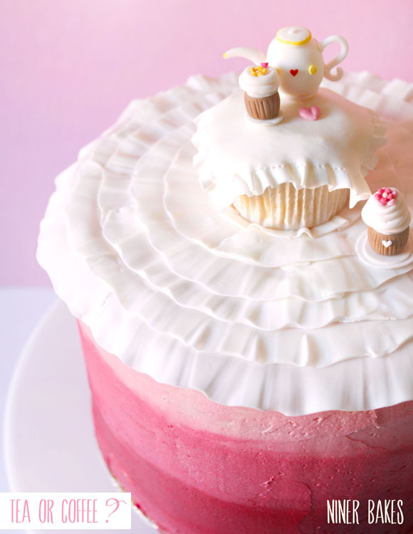 ombre layer cake with ruffle teatime cupcake with teapot - fondant - niner bakes