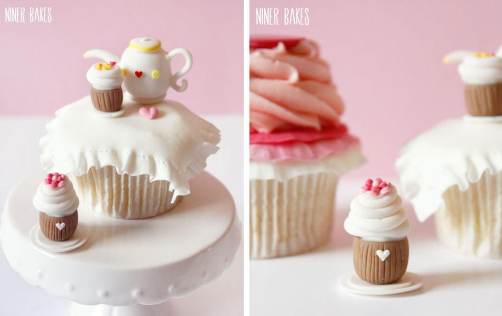 ruffle teatime cupcake with teapot - fondant - niner bakes 01_