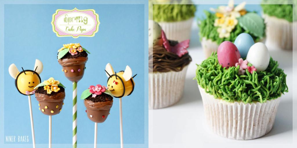 spring cake pops - bee cake pops flowerpot cake pops - easter nest cupcakes - niner bakes