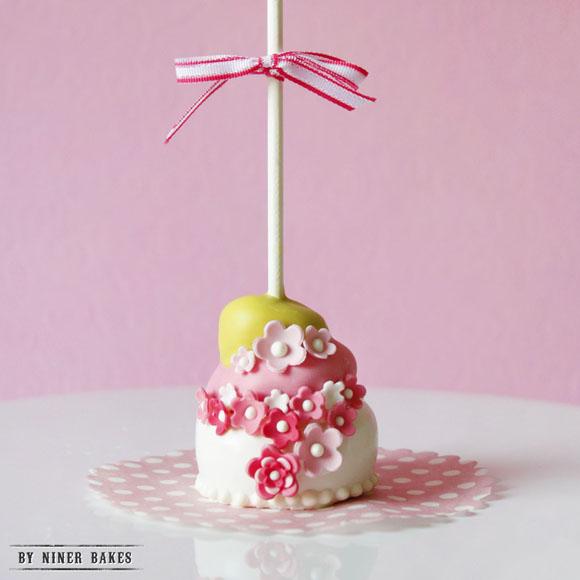 tiered topsy curvy cake - cake pops step by step tutorial by niner bakes