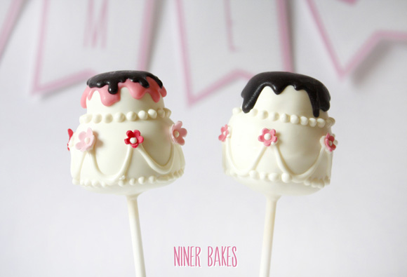 two tiered wedding cake - cake pops tutorial by niner bakes