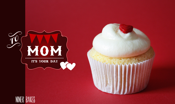 mothers day vanilla cupcakes with heart sprinkles by niner bakes