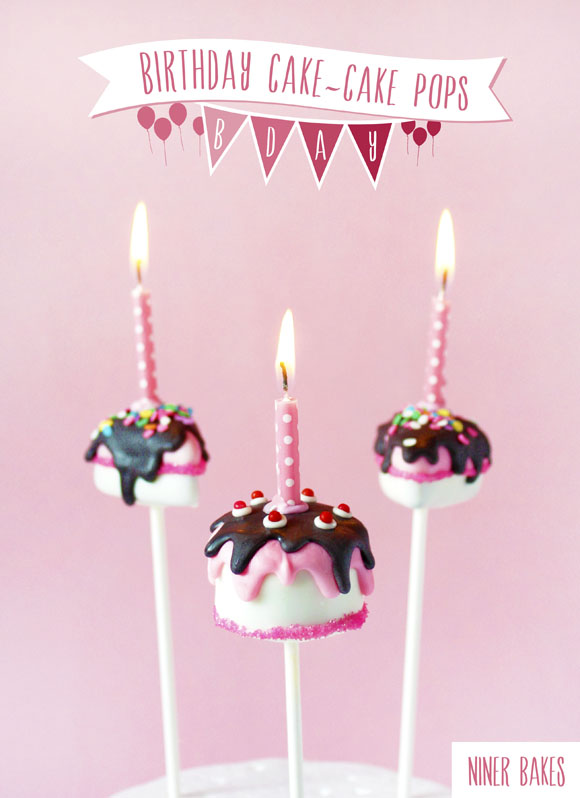 birthday cake - cake pops and birthday slice cake pops tutorial by niner bakes