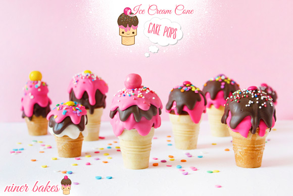 National Ice Cream Day - niner bakes Ice Cream Cone Cake Pops