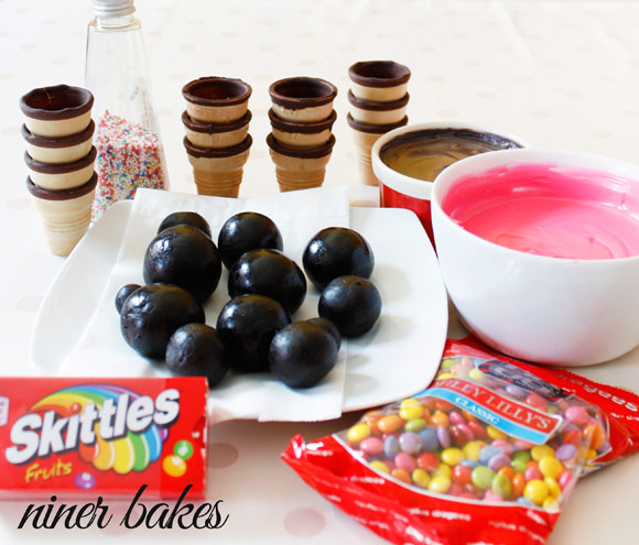 National Ice Cream Day - niner bakes Ice Cream Cone Cake Pops Tutorial, ingredients