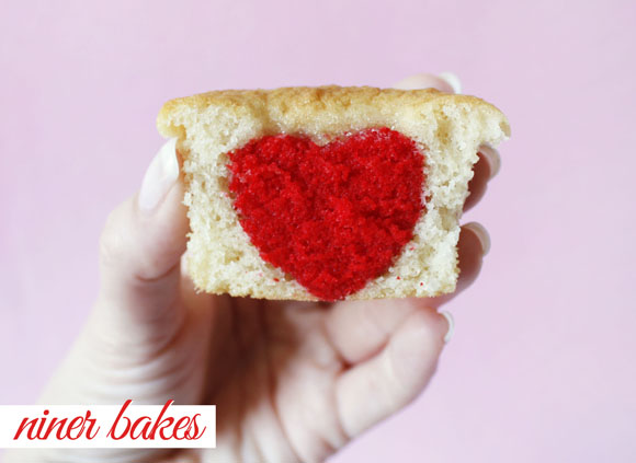 Heart in a cupcake: Heart Surprise in a Cupcake tutorial by niner bakes