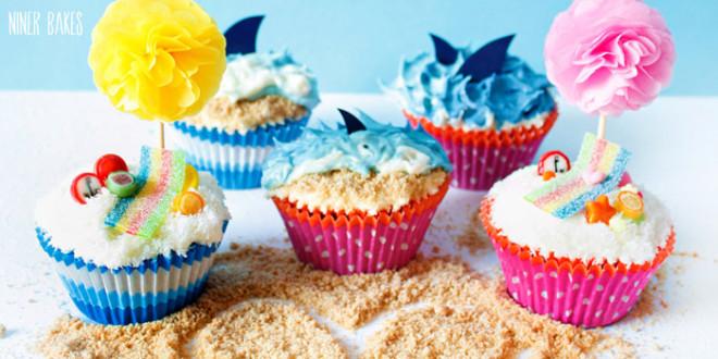 {Sommerzeit, Urlaubszeit} Strand, Ozean & Hai Cupcakes