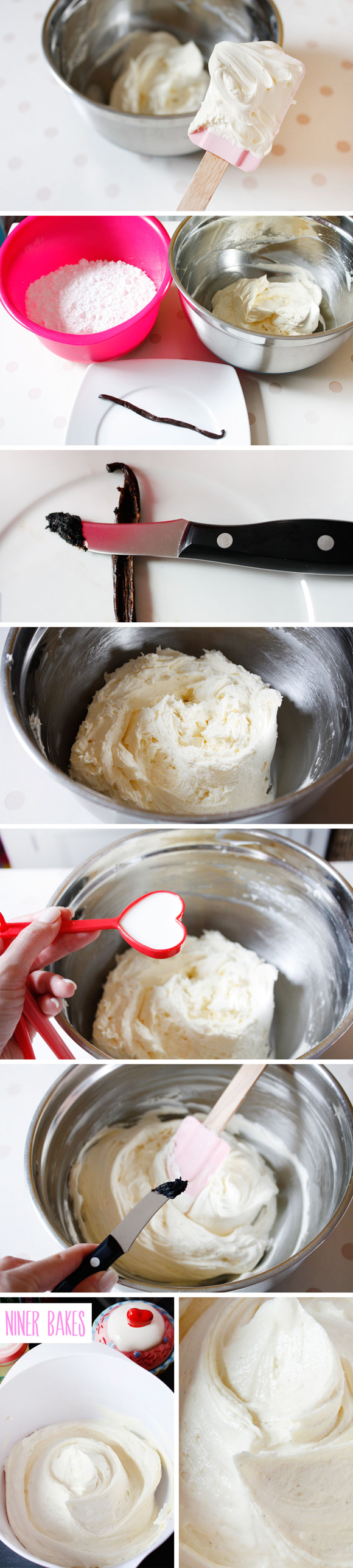 step by step-3 - vanilla bean frosting how to by niner bakes