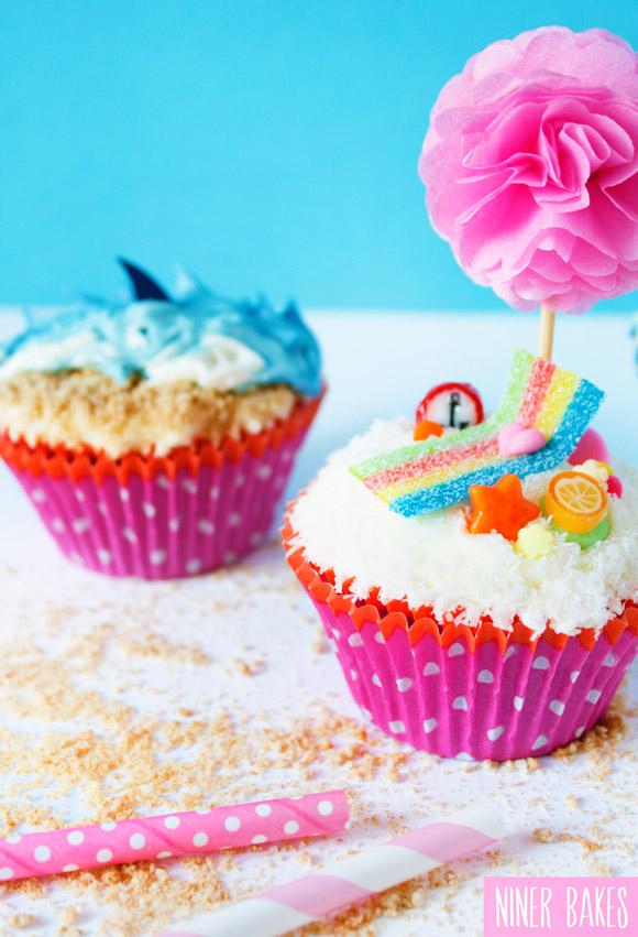 summer beach cupcakes by niner bakes