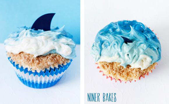 Summertime vacation time beach ocean amp shark cupcakes niner bakes