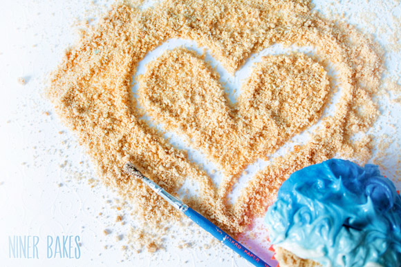 thanks to all my readers - beachy sand heart from niner bakes
