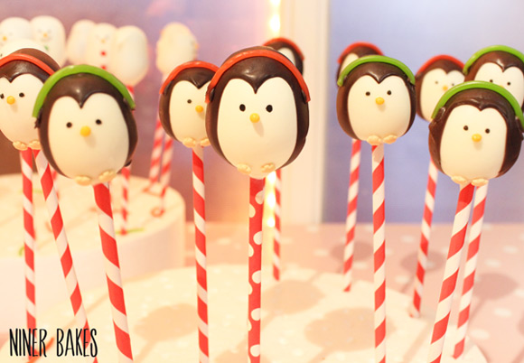 how-to-make-penguin-cake-pops_earmuffs_tutorial_by-niner-bakes - attaching earmuffs and scarf