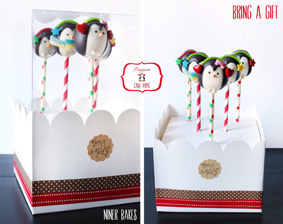 How to make penguin cake pops - tutorial by niner bakes - how to - gift box
