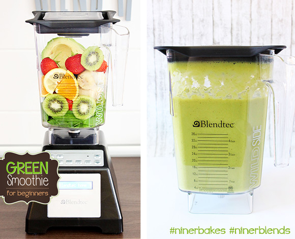 The formula to get your green on - Green Smoothies for beginners, easy recipes, testimony from niner bakes, niner blends. How to make green smoothies with your Blendtec, best blender in the world. Before and After blending