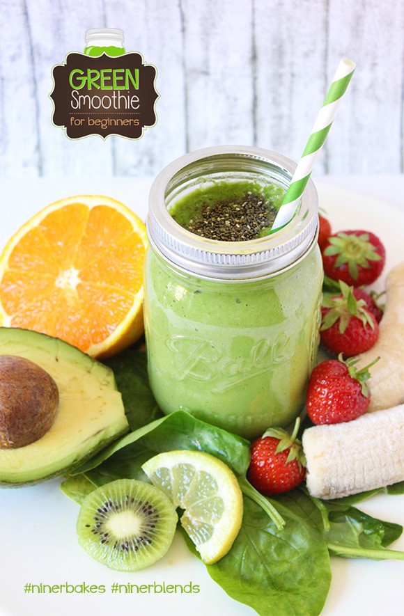 The formula to get your green on - Green Smoothies for beginners, easy recipes, testimony from niner bakes, niner blends. How to make green smoothies with your Blendtec, best blender in the world. Mason Jar, paper straws
