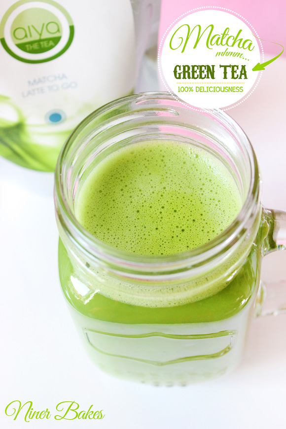 Matcha Green Tea Latte - frothy - how to - Aiya Matcha - niner bakes
