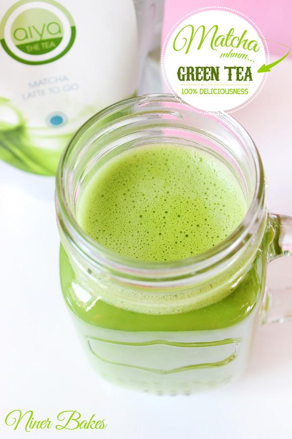 Matcha Green Tea Latte - frothy - how to - Aiya Matcha - niner bakes