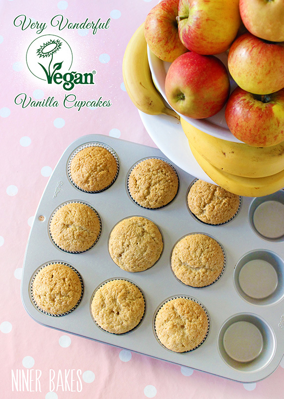 Very Vonderful Vegan Vanilla Cupcakes recipe + Video Tutorial by niner bakes