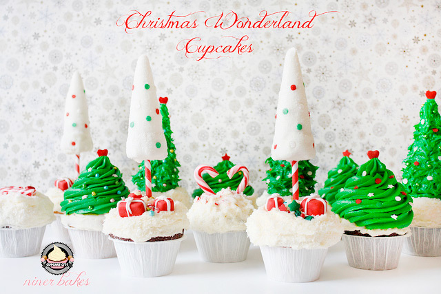 2015-Christmas Winter Wonderland treats: Cupcakes + How to make christmas tree cupcakes by niner bakes