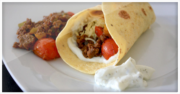 Beef Burritos with peppers & tomatoes (Father's Day)