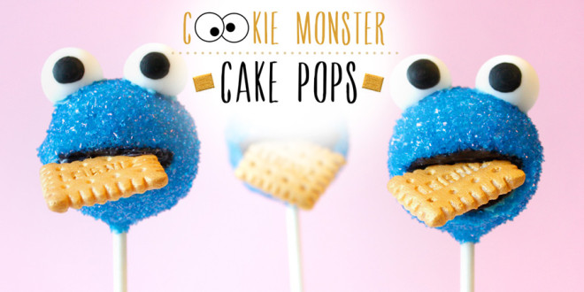 Cookie Monster Cake Pops…with golden Leibniz cookie